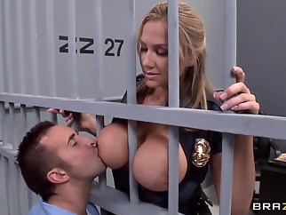 Alanah Rae horny as fuck from this muscular prisoner big cock uniform