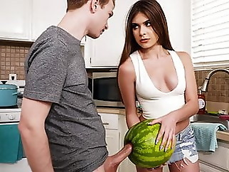 StepSister Caught Brother Masturbating With A Watermelon blowjob teen
