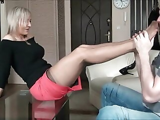 Sexy Middle Age Legs blonde stockings