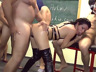 Hot woman and a little family gang bang anal big tits
