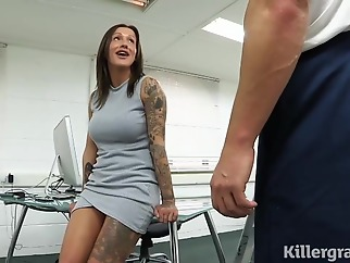 Sweet cock teaser got loads of sticky cum all over her face, after a hardcore fuck big tits hd